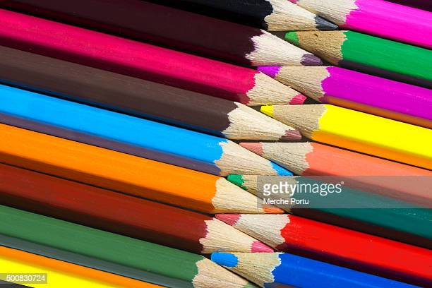Colored pencils attached to each other