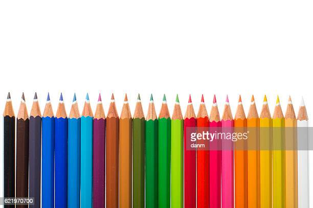 Colored pencils isolated on the white background