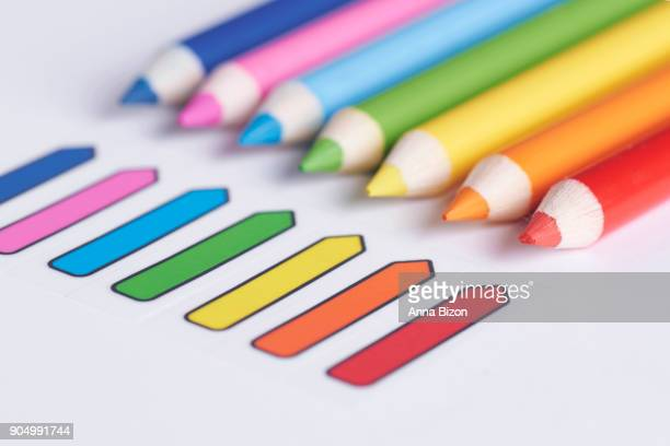Colored pencils on the white background. Debica, Poland