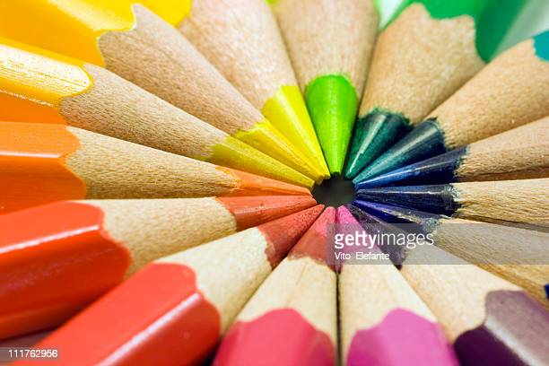 colored pencils on white - color pencil stock pictures, royalty-free photos & images
