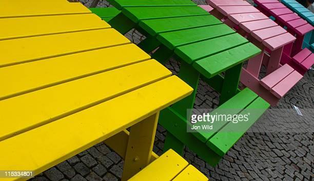 Colored picnic tables