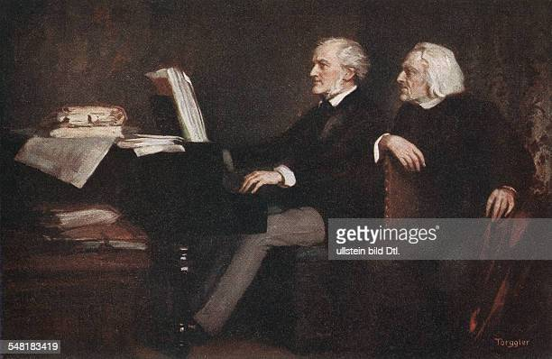 Colored postcard of German Hungarian composer and pianist Franz Liszt with composer Richard Wagner Painting by Hermann Torggler undated