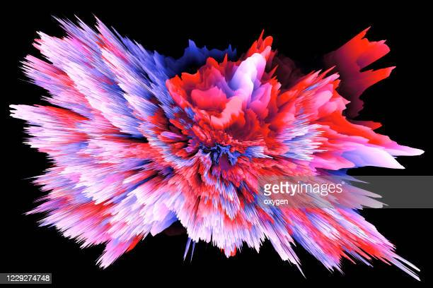 colored powder explosion speed motion radial abstract on black background - nebula stock pictures, royalty-free photos & images