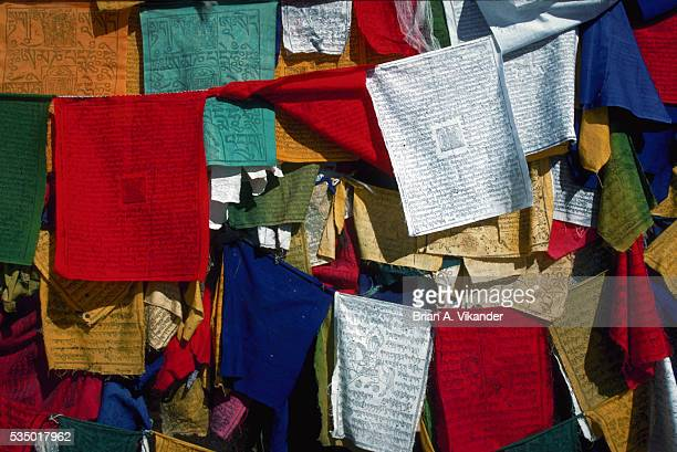 Colored Prayer Flags in Barkor Square, Lhasa, Tibet