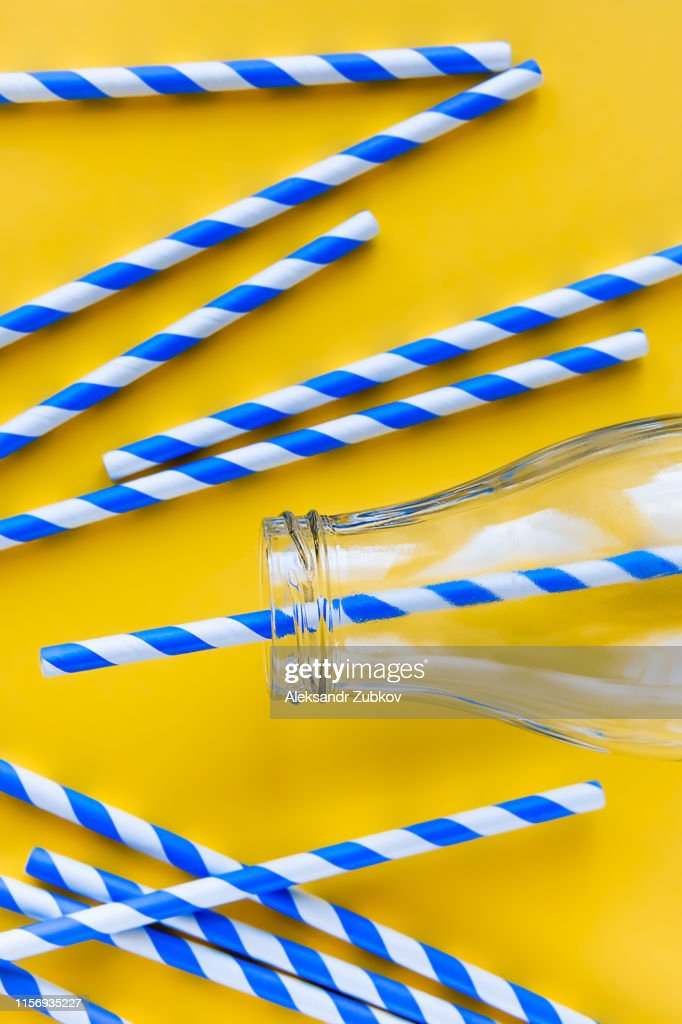 Colored Reusable Paper Striped Blue And White Straws For