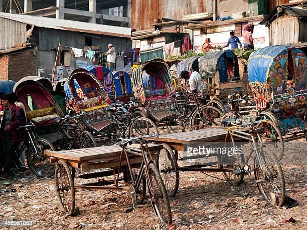 colored rickshaws of bangladesh - bangladesh nature stock photos and pictures