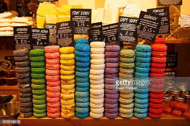 Colored soaps in a shop