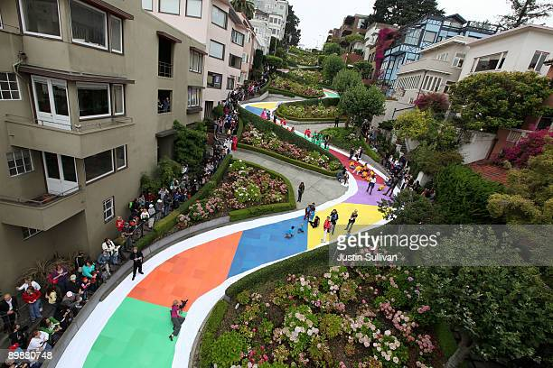 Colored squares decorate Lombard Street as kids play the world's largest game of Candyland August 19, 2009 in San Francisco, California. San...