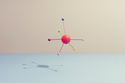 Colored sticks attached to a sphere - gettyimageskorea
