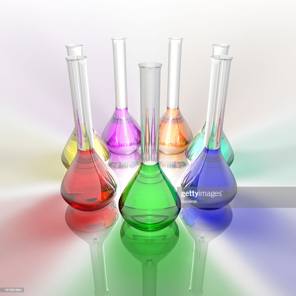 Colored test tubes : Stock Photo