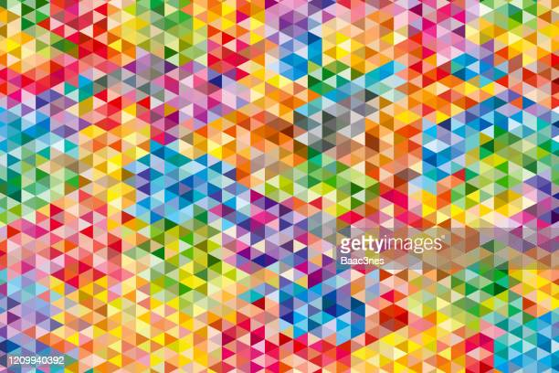 colored triangular abstract background - colors of rainbow in order stock pictures, royalty-free photos & images