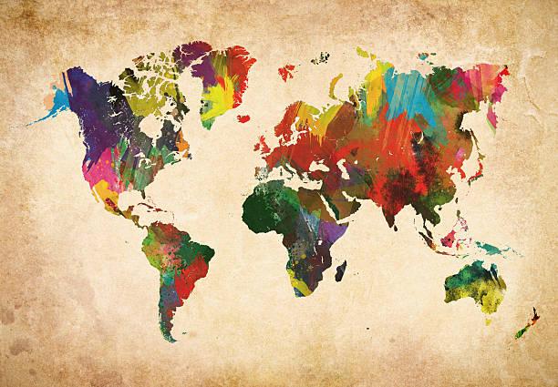 Colored World Map XXXL Wall Art
