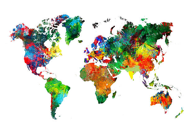 colored world map xxxl - abstract globe stock pictures, royalty-free photos & images