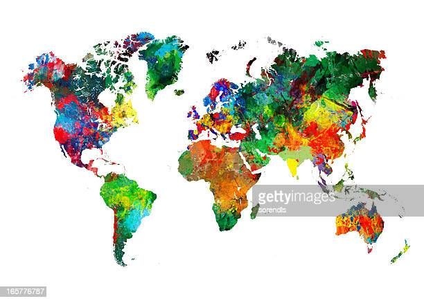 colored world map xxxl - maps stock photos and pictures