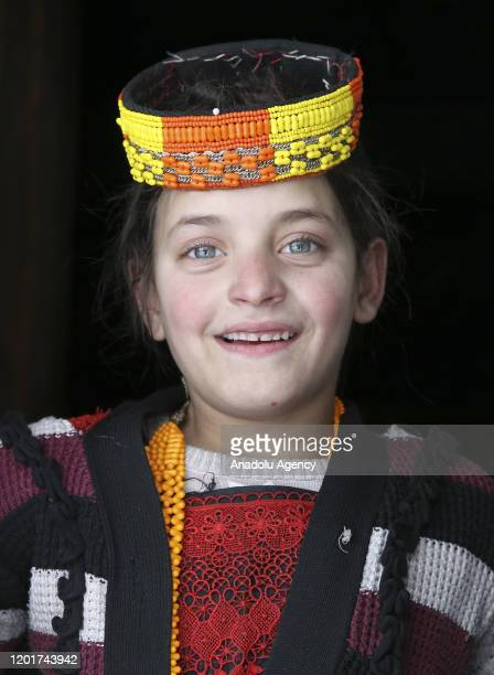 Colored-eyed Kalash girl poses for a photo in Chitral in northern Khyber Pakhtunkhwa, Pakistan on January 06, 2020. The people of Kalash, who live in...