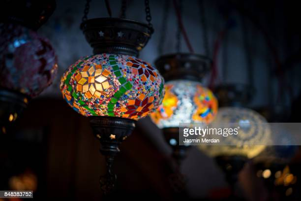 colorfoul lanterns on night street - ramadan stock pictures, royalty-free photos & images