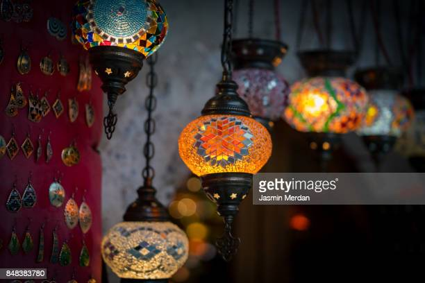 Colorfoul lanterns on night street