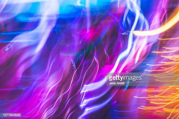 colorful abstract background, light trail, abstract background, purple background, colorful background, backgrounds - neon colored stock pictures, royalty-free photos & images