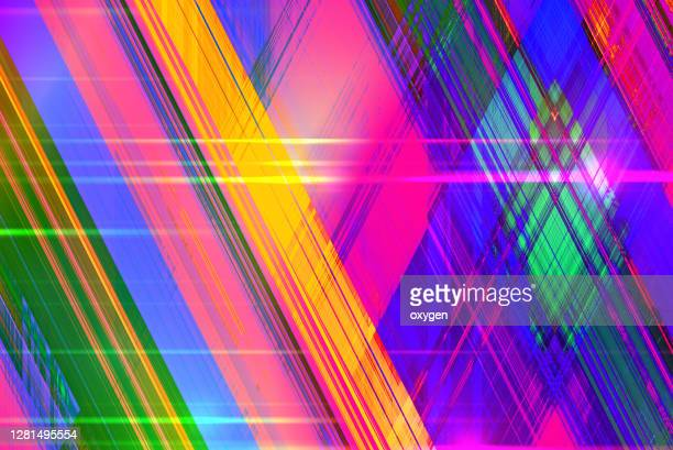 colorful abstract geometric crossed lines diagonal vibrant modern background - square stock pictures, royalty-free photos & images