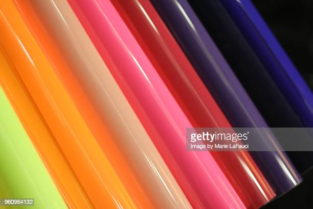 Colorful abstract shiny plastic rollers