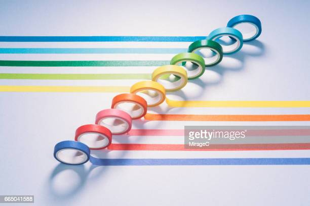colorful adhesive tapes - man made object stock pictures, royalty-free photos & images