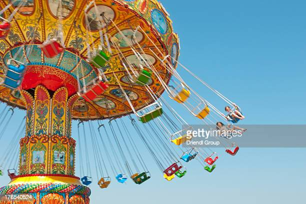 colorful amusement ride. - atlantic city stock pictures, royalty-free photos & images