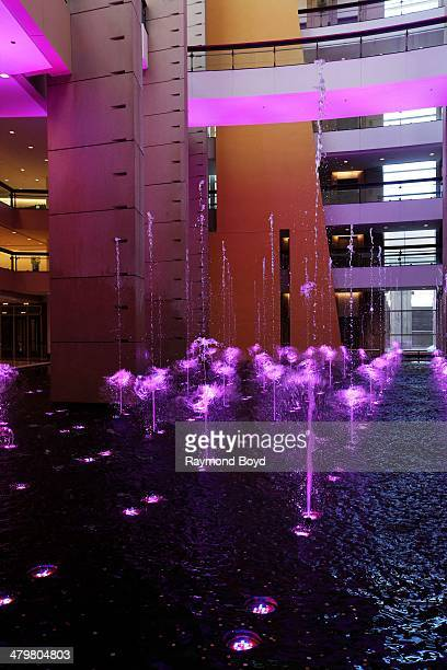 Colorful and dancing water fountain at McCormick Place in Chicago Illinois on FEBRUARY 07 2014