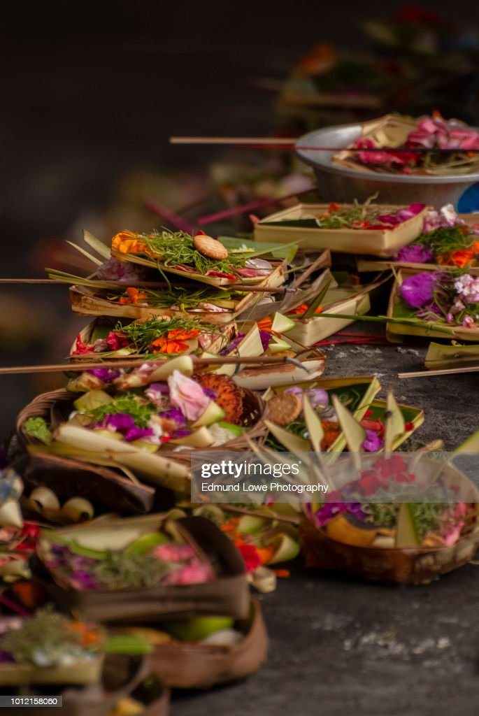 Colorful And Elaborate Balinese Hindu Offerings High Res
