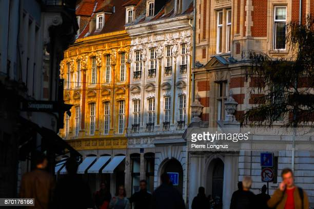Colorful and typlical buildings of the 'Rue de la Grande Chaussée', a famous shopping street in Lille, North of France