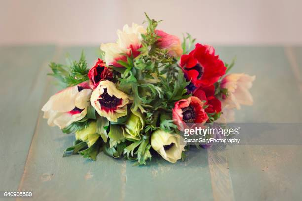 Colorful Anemone Flower Bouquet on Wooden Board