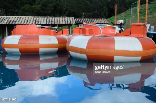 Colorful aquatic buoys inside pool