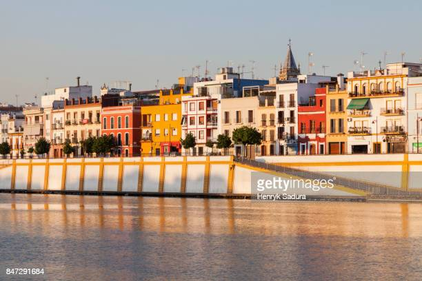 Colorful architecture of Seville along Guadalquivir River