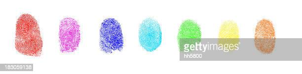 Colorful Art Paint Isolated Fingerprint On White Background