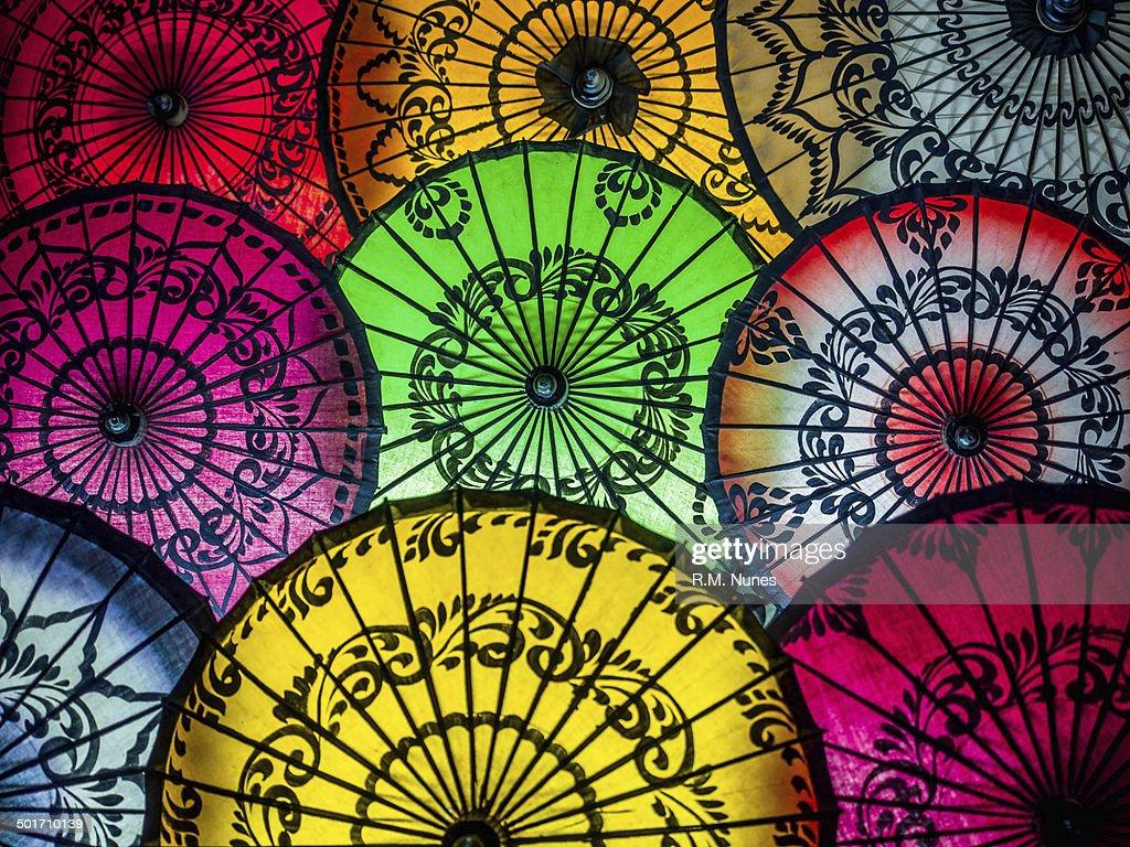 Colorful Asian Umbrellas At Traditional Burmese Street Market Stock ...