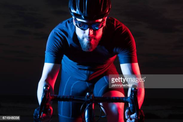 Colorful athlete bicyclist