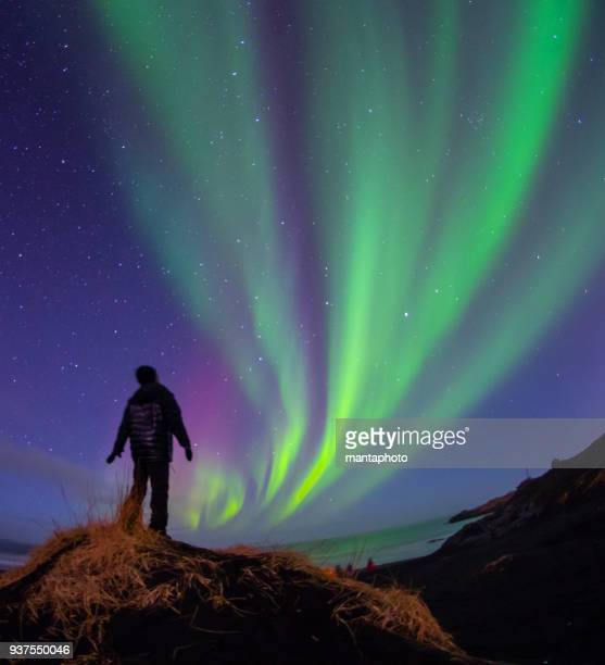colorful aurora borealis, iceland - aurora borealis stock pictures, royalty-free photos & images