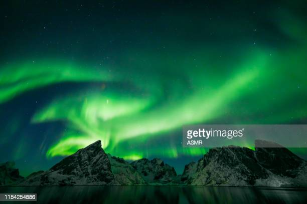 colorful aurora borealis - aurora borealis stock pictures, royalty-free photos & images