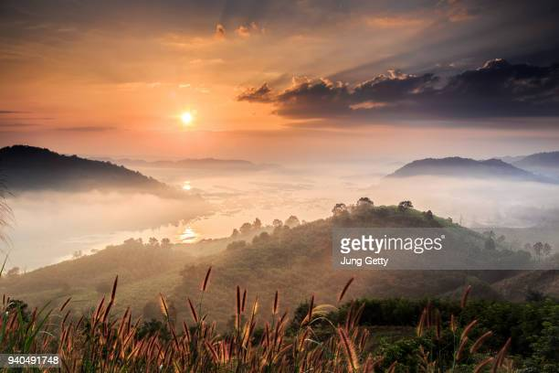 colorful autumn view of landscape mountains phu huey esan nongkhai thailand - valley stock pictures, royalty-free photos & images