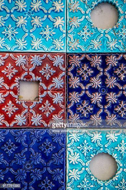 colorful azulejos - traditionally portuguese stock pictures, royalty-free photos & images