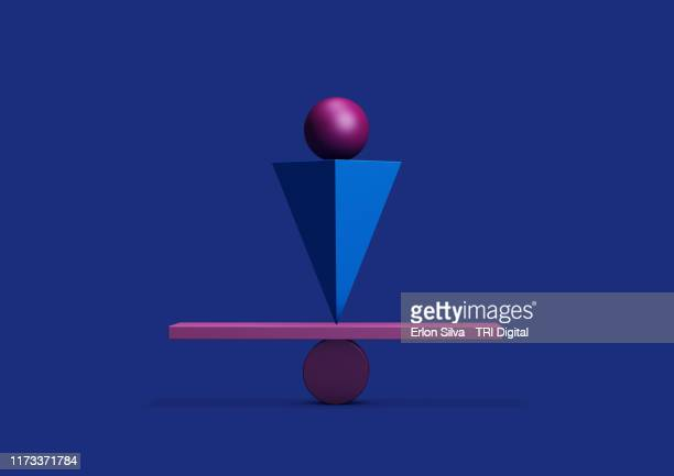 colorful balanced geometric shapes with equilibrium concepts - three dimensional stock pictures, royalty-free photos & images