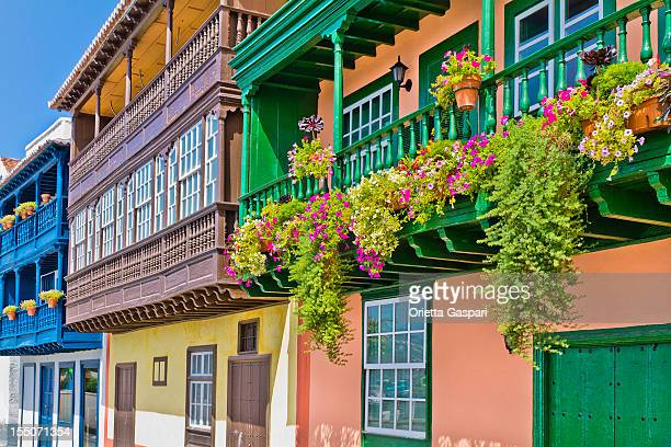 colorful balconies in santa cruz de la palma