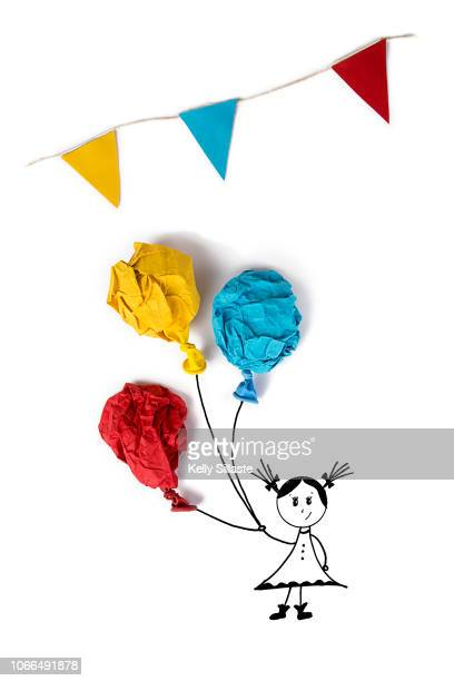 colorful balloon illustration with a cartoon girl - représenter photos et images de collection