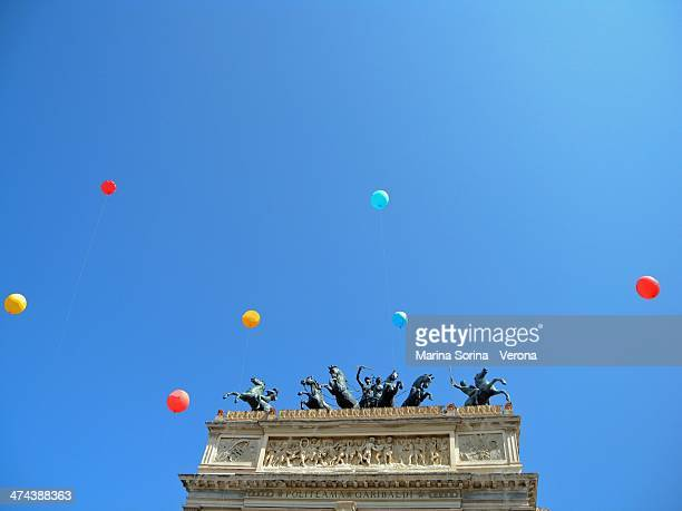 Colorful balloons over Politeama theater