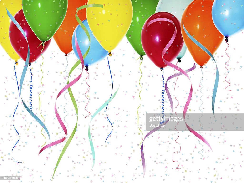 Colorful Balloons with Confetti : Stock Photo