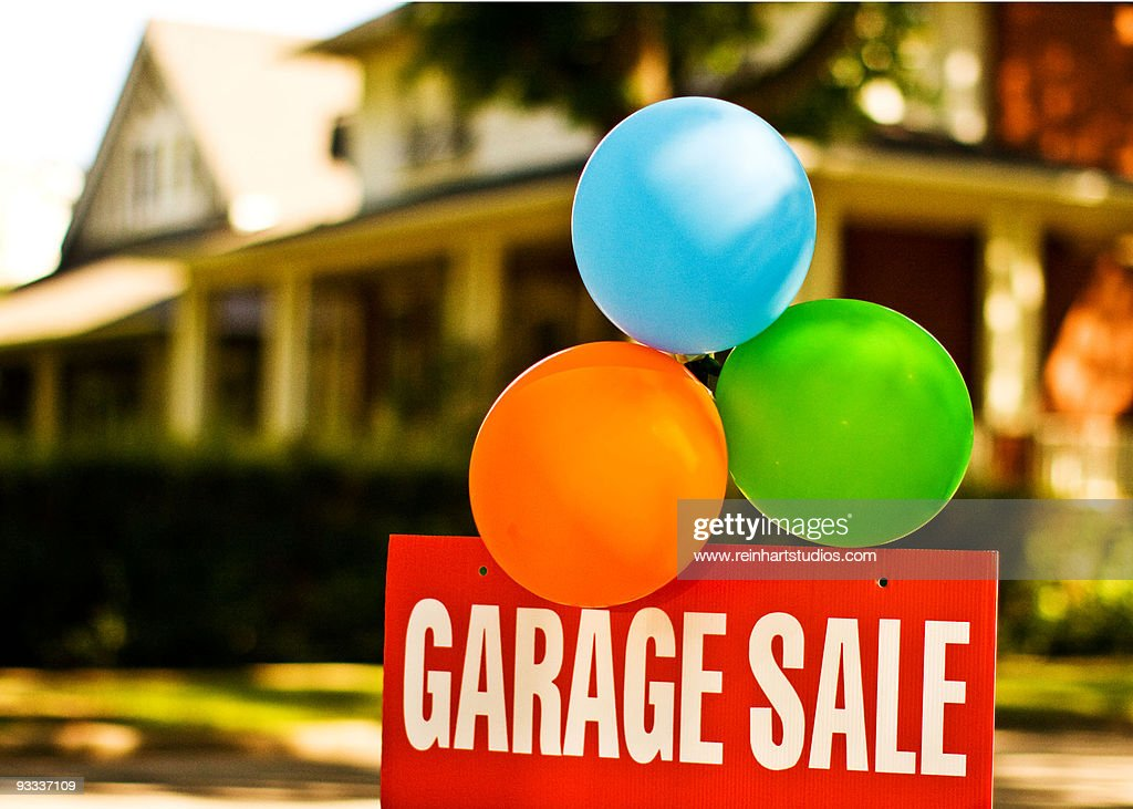 """Colorful balloons with """"garage sale"""" sign   : Stock Photo"""