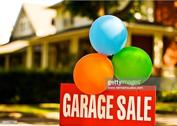 """colorful balloons with """"garage sale"""" sign   - garage sale stock pictures, royalty-free photos & images"""