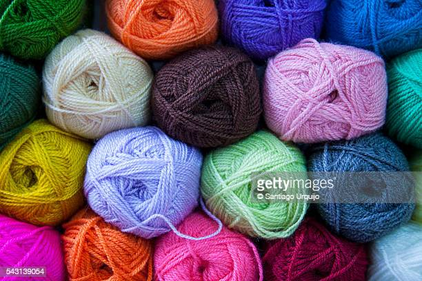 Colorful balls of wool