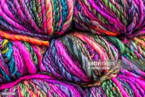 colorful balls of wool - santiago de compostela stock pictures, royalty-free photos & images