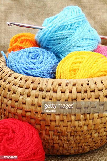 Colorful balls of yarn in a basket