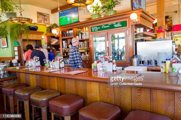 Colorful bar area at Chow restaurant in Lafayette California February 25 2019